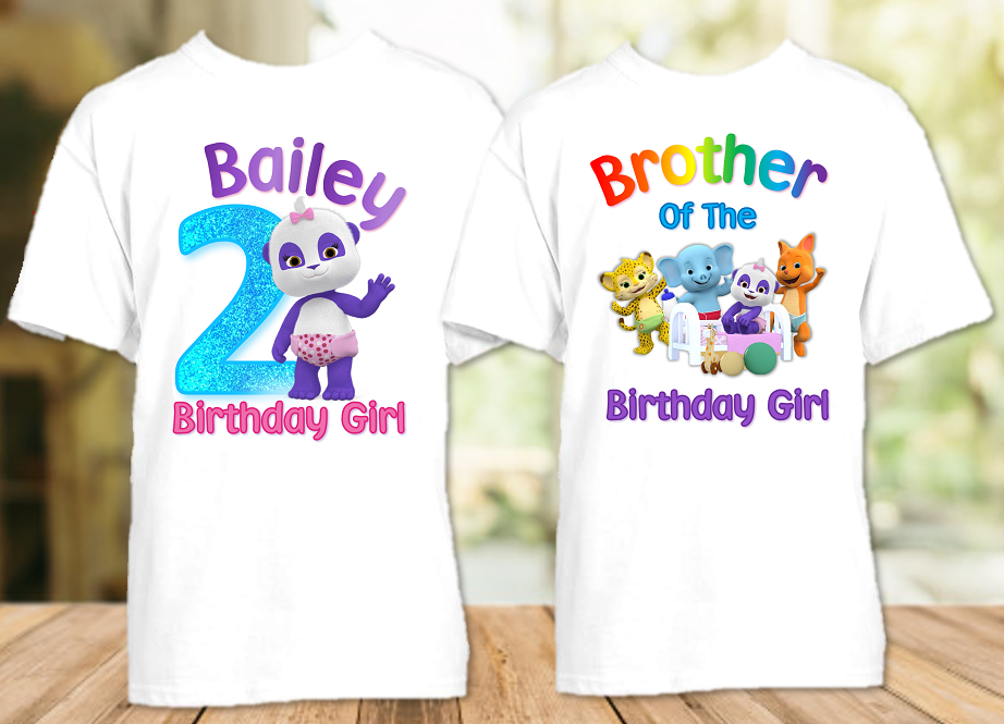 Word Party Lulu Panda Birthday Party Personalized T Shirt or Onesie - 2 Pack - WPL2P