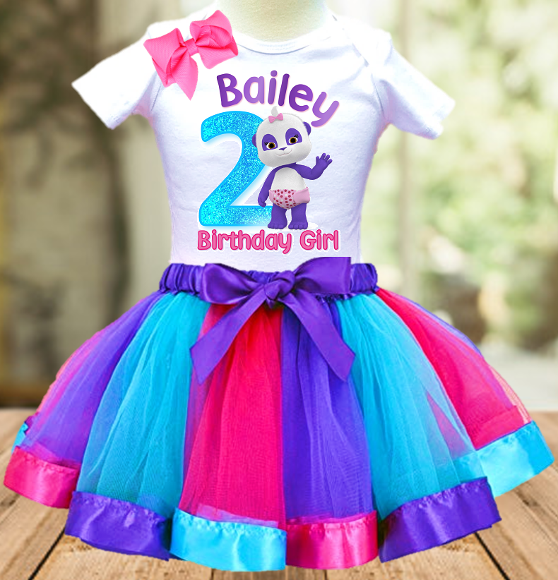 Word Party Lulu Panda Birthday Party Personalized Ribbon Tutu Outfit - All Sizes - WPLTO01