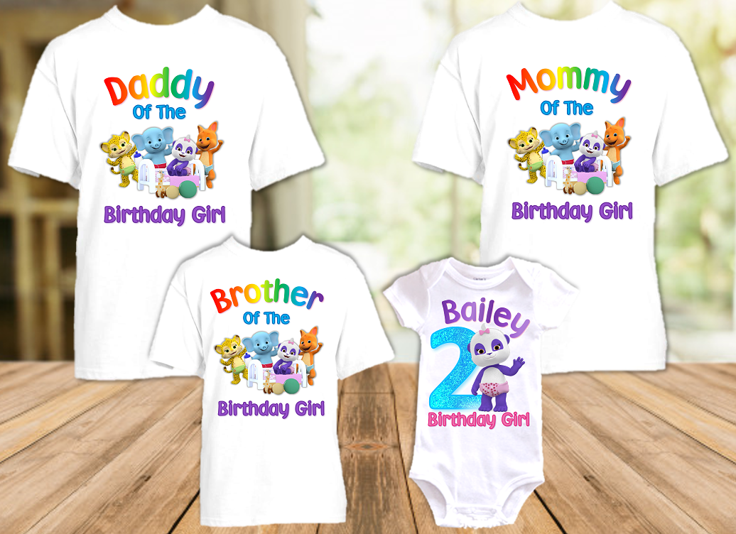 Word Party Lulu Panda Birthday Party Personalized T Shirt or Onesie - 4 Pack - WPL4P