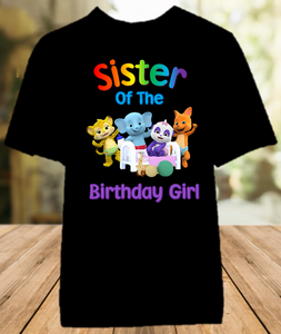 Word Party Birthday Party Personalized Sibling Sister Color T Shirt - All Sizes - WPSCS1