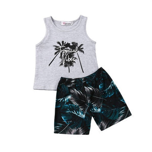 Pudcoco Newest Fashion Toddler Baby Clothes Sleeveless Vest Tops Print Short Pants 2PCS Outfit Set