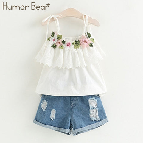 Image of Humor Bear 2019 Girl's Clothes New Summer Children Bow Lace Sling T-shirt+Striped Short Pants Sets Kids Sleeveless Clothing Sets