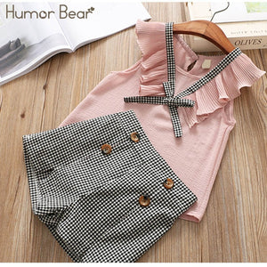 Humor Bear 2019 Girl's Clothes New Summer Children Bow Lace Sling T-shirt+Striped Short Pants Sets Kids Sleeveless Clothing Sets