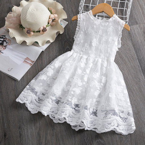 Image of Girl Dress Kids Dresses For Girls Mesh Casual Lace Embroidery Princess Baby Girl Clothes Summer Sleeveless Dress Kids Clothes