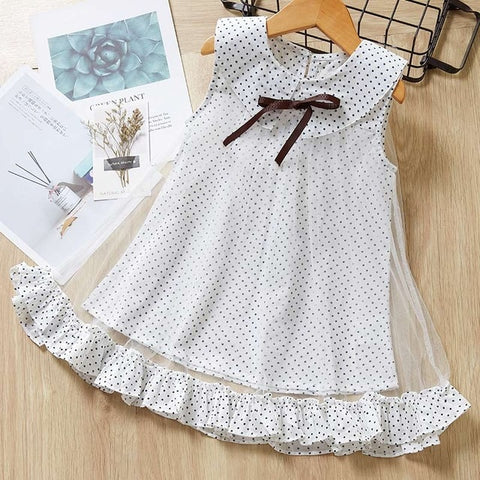 Image of Melario Casual Girls Dresses Summer New Children's Clothing Girls Round Neck solid Mesh Stitching Bow Dress Dot Princess Costume