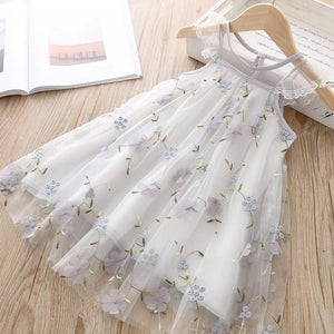 Melario Casual Girls Dresses Summer New Children's Clothing Girls Round Neck solid Mesh Stitching Bow Dress Dot Princess Costume