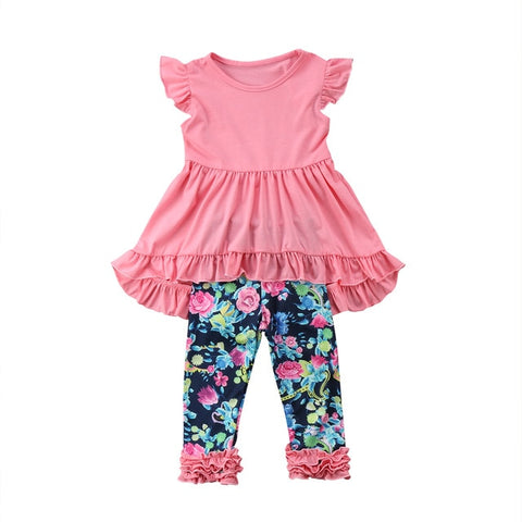 Image of 2019 Summer Boutique Kids Baby Girls Vest Top Dress Flower Leggings Pants Lovely Outfits Cute Soft Casual Loose Clothes