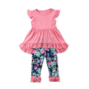 2019 Summer Boutique Kids Baby Girls Vest Top Dress Flower Leggings Pants Lovely Outfits Cute Soft Casual Loose Clothes