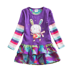 VIKITA Girls Cotton Dress Long Sleeve Children Patchwork Vestidos Kid Dresses for Girls Clothes Toddlers Cartoon Princess Dress