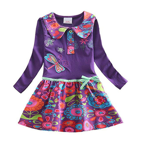 Image of VIKITA Girls Cotton Dress Long Sleeve Children Patchwork Vestidos Kid Dresses for Girls Clothes Toddlers Cartoon Princess Dress