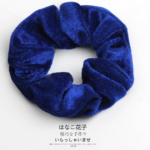 Image of Woman Velvet Scrunchies Solid Hair Ring Ties For Girls Ponytail Holders Rubber Band Elastic Hairband Hair Accessories Headwear