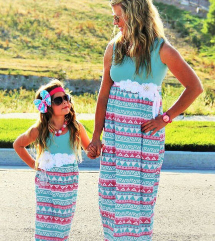 Image of family matching clothes mommy and me dress matching outfits 2019 summer kids boho baby dresses little girl womens boutique