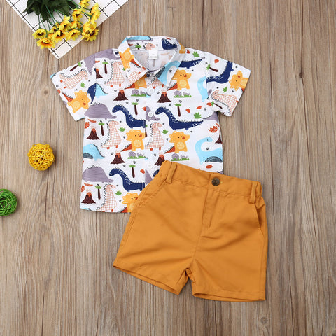 Image of Pudcoco Summer Toddler Baby Boy Clothes Cute Dinosaur Print Shirt Tops Short Pants 2Pcs Outfits Sunsuit Summer Clothes