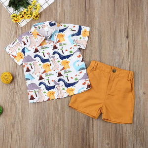 Pudcoco Summer Toddler Baby Boy Clothes Cute Dinosaur Print Shirt Tops Short Pants 2Pcs Outfits Sunsuit Summer Clothes