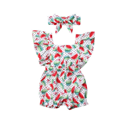 Image of Newborn Baby Girl Clothes Fly Sleeve Ruffle Romper Jumpsuit Headband 2PCS Outfits Set