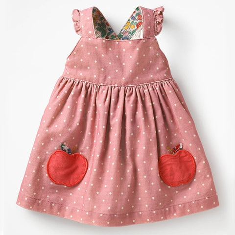 Image of Little maven kids brand clothes 2019 autumn baby girls clothes Cotton FRUIT ANIMAL applique dot sundress girl sleeveless dresses
