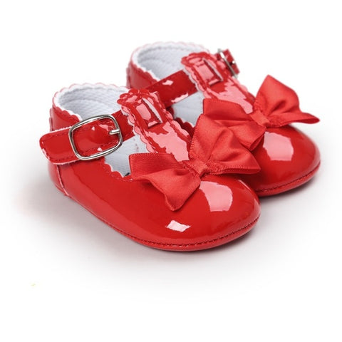Newborn Baby Girls Shoes PU leather Buckle First Walkers Red Black Pink White Blue Soft Soled Non-slip Footwear Crib Shoes