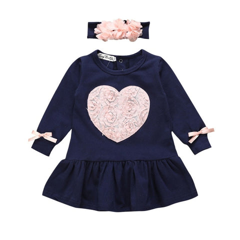 Image of Cute Toddler Infant Baby Girls Spring Auturm Floral Heart Long Sleeve Princess Dresses with Headband baby Clothes Vestido bebe