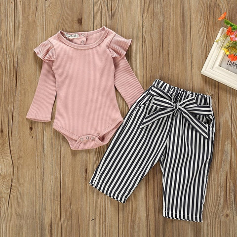 Image of Autumn Baby Girl Boy Clothes Newborn Sets Outfit Pink Long Short Romper Bodysuit Stripe Long Pants 2Piece kit Top Dropshipping