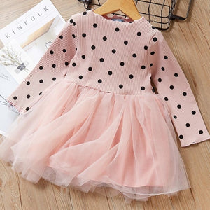 Autumn Casual Baby Girl Dresses Floral Polka Dot Dress long Sleeve Princess Dress Clothes Mesh Lace Kids Clothes Party Dresses