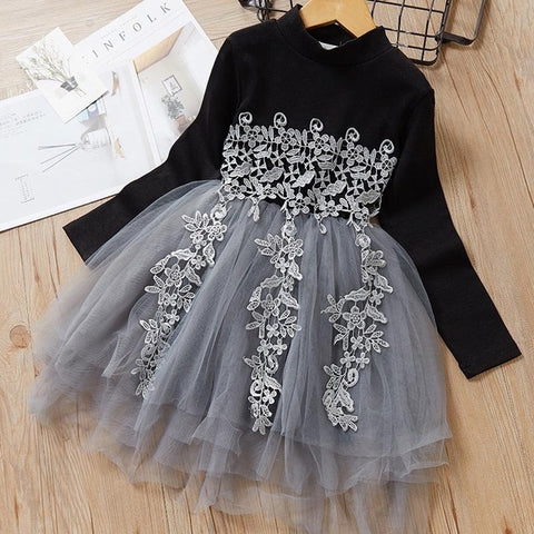 Image of Autumn Casual Baby Girl Dresses Floral Polka Dot Dress long Sleeve Princess Dress Clothes Mesh Lace Kids Clothes Party Dresses