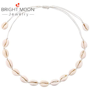Bright Moon Natural Cowrie Shell Necklace Choker for Women Vsco Puka Shell Necklace Adjustable Hawaiian Beach Seashell Necklace