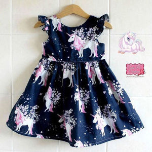 Ruffled Sleeve Unicorn Print Dress For Toddler Girls Summer