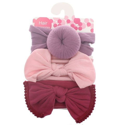 Image of 3pcs/Set New Solid Nylon baby headband Bow Headbands For Cute Kids Girls Hair Girls Turban Hairband Children Soft Cotton