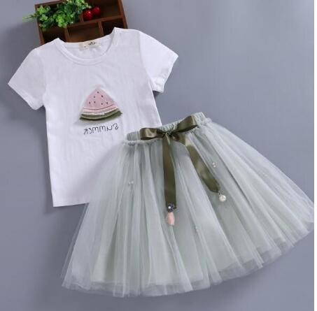 Image of MERI AMMI 2 pcs Set Children Girl Clothing Outfit Set Sleeveless Floral Tee +Flower Skirts For 2-13 Year Girl