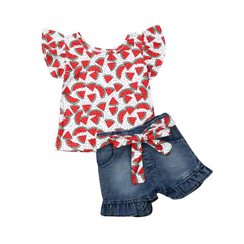 Image of Toddler Kids Baby Girls Sleeveless Cartoon Ruffles Tops T-shirt Denim Pants Shorts Outfits Set Clothes