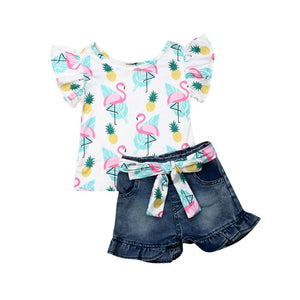Toddler Kids Baby Girls Sleeveless Cartoon Ruffles Tops T-shirt Denim Pants Shorts Outfits Set Clothes
