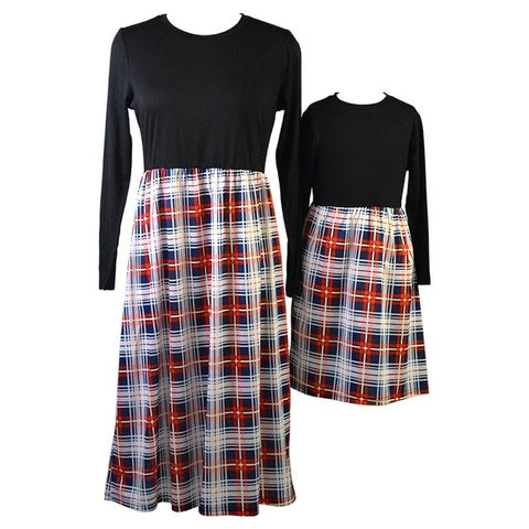 Image of plaid mother daughter dresses for mommy and me matching clothes family look outfits mom girl dress vintage long mom christmas