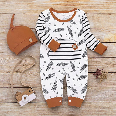 Image of Newborn Feather Striped Print Romper Jumpsuit With Hat