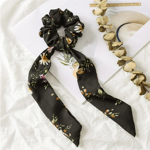 Image of Bohemian Polka Dot Floral Printed Ribbon Bow Hair Scrunchies Women Elastic Hair Band Scarf Hair Rope Ties Girls Hair Accessories