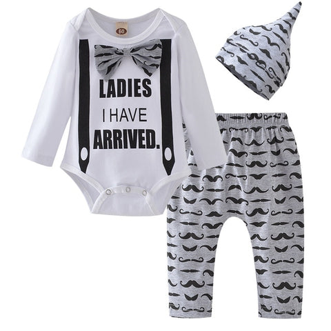 Image of Baby Boy Clothes 2019 Autumn Baby Girl Clothing Sets Newborn Cotton Printed Long Sleeved T-shirt+pants+cap Kids 3pcs Suit