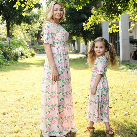 Image of sleeveless striped mother daughter dresses family look mommy and me clothes mom mum baby dress women and girls matching outfits