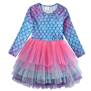 Kids Autumn Winter Dresses for Girls Star Sequins Princess Dress Girls Long Sleeve Party Vestidos Baby Girl Children Clothing