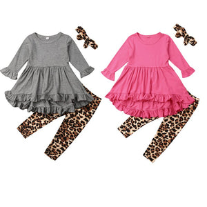 Casual Kids Baby Girls Autumn Sets Ruffles Frill Long Sleeve Tops Dress Leopard Pants Headwear 3Pcs Children Girl Outfits 0-5Y