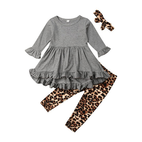 Image of Casual Kids Baby Girls Autumn Sets Ruffles Frill Long Sleeve Tops Dress Leopard Pants Headwear 3Pcs Children Girl Outfits 0-5Y