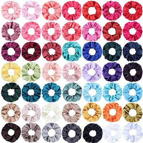 Image of 27 Color Soft Chiffon Velvet Satin Hair Scrunchie Floral Grip Loop Holder Stretchy Hair Band Leopard Women Hair Accessories