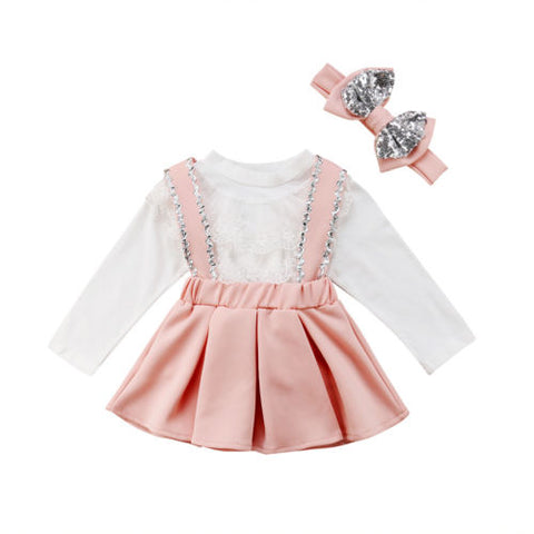 Image of Toddler Girl Clothes Set Kids Girl Clothing Long Sleeve Lace Tops Sequin Strap Skirt Bow Headband Princess Outfits 1-6T 3Pcs
