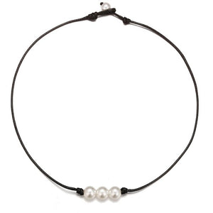 2019 New Boho Ethnic Vsco Girl Imitation Pearl Choker Necklace Female Cute and Simple Black Leather Cord Rope Necklaces Collares