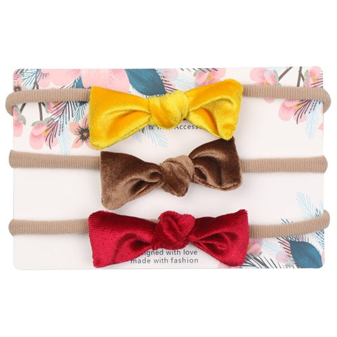 Image of 3pcs/lot Cute Bow Baby Headband for Girl Nylon Head Bands Turban Newborn Headbands Hairbands for Kids Baby Hair Accessories
