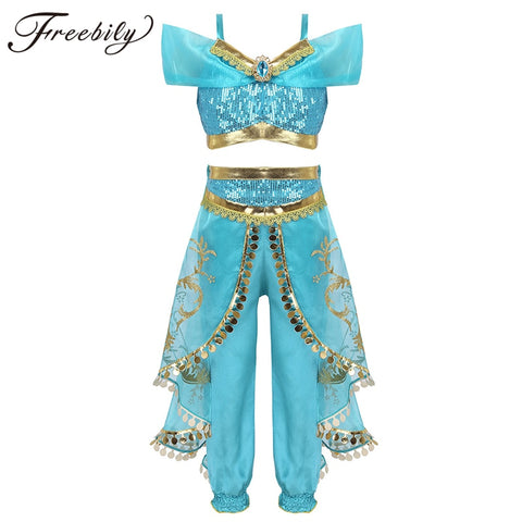 Image of Kids Girls Princess Glittery Sequins Rhinestone Costume Outfit Off Shoulder Crop Top with Pants Halloween Cosplay Party Dress Up
