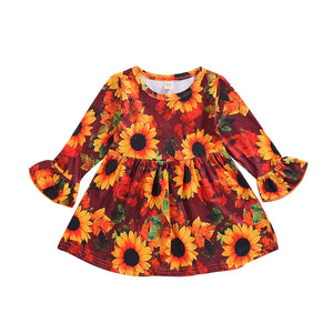 1-6Year Girls Boutique Flower Dress with Ruffles