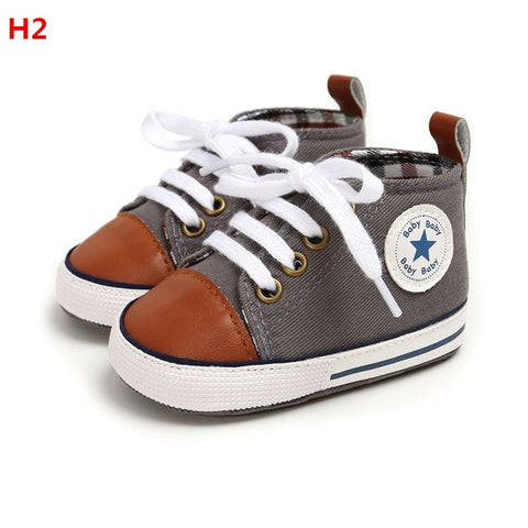 Image of Baby Shoes Classic Canvas Baby Boy Shoes Spring Cotton Straps Stitching Newborn Boy Girl Shoes First Walker Prewalker