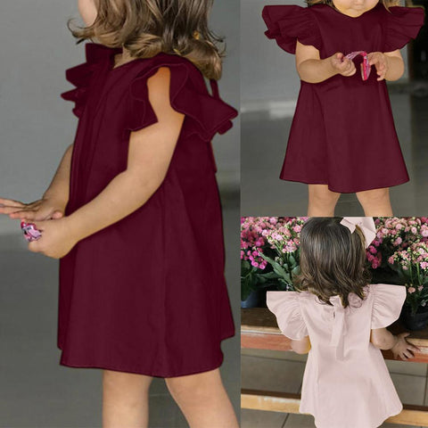 Image of Summer Infant Baby Girls Dress Toddler Kids Girl Fly Sleeve O Neck Solid Bow Cute Dress Fashion Casual Clothes Dresses for girls