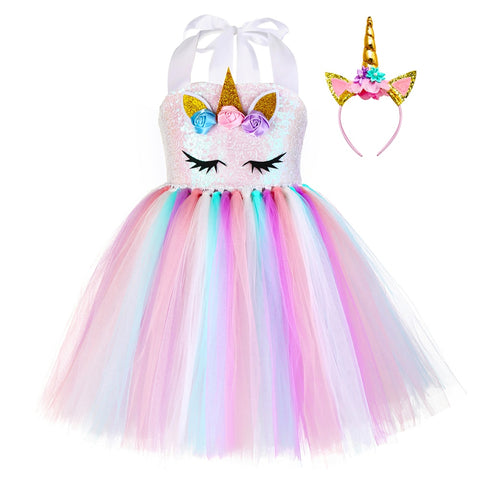 Image of Pastel Sequins Girls Unicorn Tutu Dress Set Princess Flowers Girl Birthday Party Dress Up Kids Halloween Unicorn Costume Outfit
