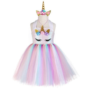 Pastel Sequins Girls Unicorn Tutu Dress Set Princess Flowers Girl Birthday Party Dress Up Kids Halloween Unicorn Costume Outfit