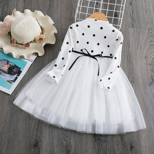 Autumn Long Sleeves Toddler Baby Girl  Dress Kids Baby Girls Tutu Casaul Outfits Dots Children Clothes 1 2 3 4 5 Years Vestidos